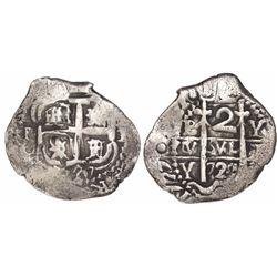 Potosi, Bolivia, cob 2 reales, 1727Y, Louis I, rare.