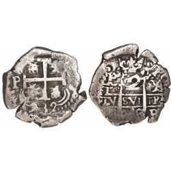 Potosi, Bolivia, cob 2 reales, 1732YA, rare.