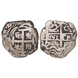Potosi, Bolivia, cob 2 reales, 1744C.