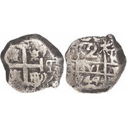 Potosi, Bolivia, cob 2 reales, 1744q.