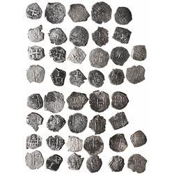 Large lot of 22 Potosi, Bolivia, cob 2 reales: 1655E (2), 1669E, 1695VR, 1698(F), 1702Y, 1717Y, 1723