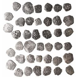 Large lot of 20 Potosi, Bolivia, cob 2 reales: 1664E, 1708Y, 1727Y, 1728M, 1737E, 1741P, 1745q, 1748