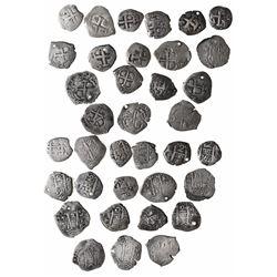Large lot of 18 Potosi, Bolivia, cob 2 reales: 1669E, 1678E, 1684V, 1694VR, 1695VR, 1707Y, 1720Y, 17