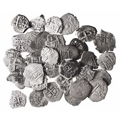 Large lot of 33 Potosi, Bolivia, cob 1R: 1652E, 1653E, 1656E, 1660E, 1664E, 1665E, 1673E, 1677E, 167