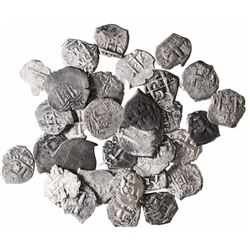 Large lot of 33 Potosi, Bolivia, cob 1R: 1653E, 1658E (2), 1666E, 1669E, 1683V, 1686VR, 1723Y, 1745q