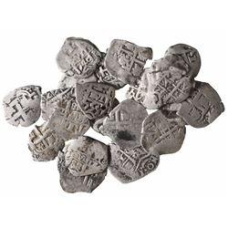 Large lot of 20 Potosi, Bolivia, cob 1R, various dates: 1657E, 1666E, 1688VR, 1689VR, 1705Y, 1718Y,