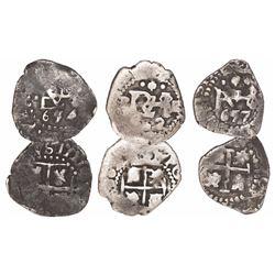 Lot of 3 Potosi, Bolivia, cob 1/2R: 1654E, 1657E and 1662E.