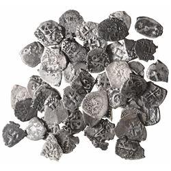 Large lot of 50 Potosi, Bolivia, cob 1/2R: 1663, 1670, 1688, 1690, 1691, 1701, 1707, 1712, 1714, 172