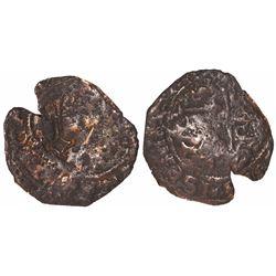 Santo Domingo, Dominican Republic, copper 4 maravedis, Charles-Joanna, assayer F, with key counterma