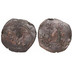 "Santo Domingo, Dominican Republic, copper 4 maravedís, Charles-Joanna, assayer oF, with ""S"" counterm"