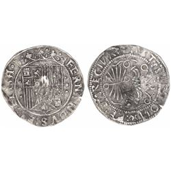 Panama(?), P countermark on a Seville, Spain, 1 real, Ferdinand-Isabel, rare.