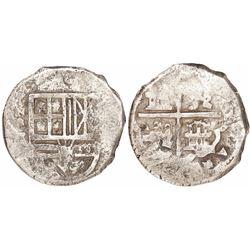 Cartagena, Colombia, cob 8 reales, Philip IV, assayer E, NRE to left (1626-29), rare.