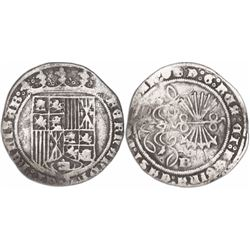 Burgos, Spain, 1 real, Ferdinand-Isabel, pot and cross at end of reverse legend.