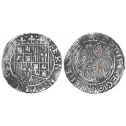 Seville, Spain, 1 real, Ferdinand-Isabel, circlets flanking shield, backwards-S mintmark to left of