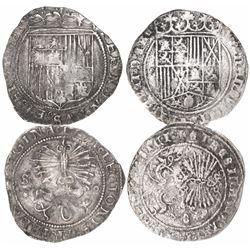 Lot of 2 Spain (mints of Granada and Seville) 1R, Ferdinand-Isabel.