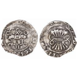 Seville, Spain, 1/2 real, Ferdinand-Isabel, assayer * to left of mintmark S inside yoke.