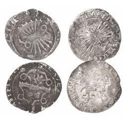Lot of 2 Spain (mints of Granada and Seville) 1/2R, Ferdinand-Isabel.