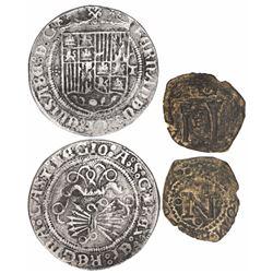 Lot of 2 early Spanish minors: 1R, Toledo, Ferdinand-Isabel; and copper cornado, Pamplona, Charles I