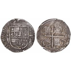Seville, Spain, cob 4 reales, Philip II, assayer Gothic D at 4 o'clock outside tressure on reverse.