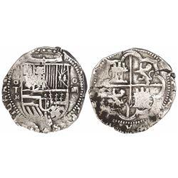 Toledo, Spain, cob 4 reales, Philip II, assayer M-in-circle below mintmark oT to left.