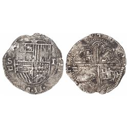 Seville, Spain, cob 1 real, Philip II, assayer Gothic D below mintmark S to left and twice outside t