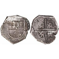 Spain (mint uncertain), cob 4 reales, Philip II or III, assayer not visible.
