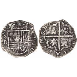 Seville, Spain, cob 4 reales, Philip III, assayer B.