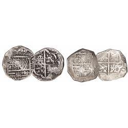 Lot of 2 Spain (mints uncertain) cob 4 reales, Philip III, assayers not visible.