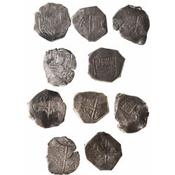 Lot of 5 Seville, Spain, cob 8 reales, Philip III and IV, assayers D, G and not visible.