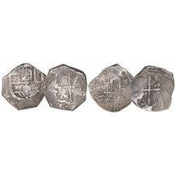 Lot of 2 Seville, Spain, cob 4 reales, Philip III or IV, one dated (1)621, assayers not visible.