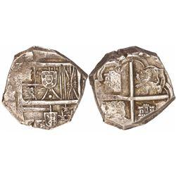 Seville, Spain, cob 4 reales, Charles II, assayer M below mintmark S to left, rare.