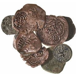 Lot of 10 Spanish copper cobs and medieval billon coins, including one Santo Domingo 4 maravedis of