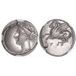 Corinthia, Corinth, AR drachm, ca. 350-280 BC, encapsulated NGC Ch XF, strike 5/5, surface 4/5.