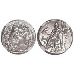 Kingdom of Thrace, AR drachm, Lysimachus, 305-281 BC, Kolophon mint, encapsulated NGC AU, strike 5/5