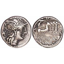 Roman Republic, AR denarius, P. Maenius M. f. Antias or Antiaticus, 132 BC.