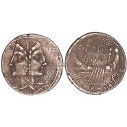 Roman Republic, AR denarius, C. Fonteius, 114-113 BC, Janus and galley.