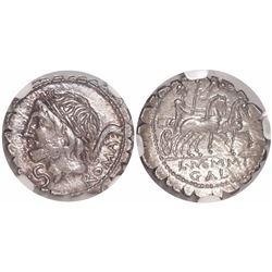 Roman Republic, AR denarius serratus, L. Memmius Galeria, ca. 106 BC, encapsulated NGC MS, strike 4/