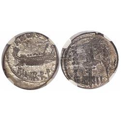 Roman Imperatorial, AR legionary denarius, Marc Antony, 32-31 BC, encapsulated NGC Ch AU, strike 4/5