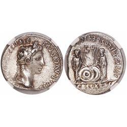 Roman Empire, AR denarius, Augustus, 27 BC-14 AD, Lugdunum mint, encapsulated NGC Ch AU, strike 4/5,