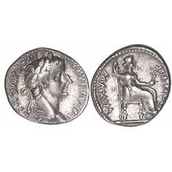 """Roman Empire, AR denarius, Tiberius, 14-37 AD, """"tribute penny,"""" Lugdunum mint."""