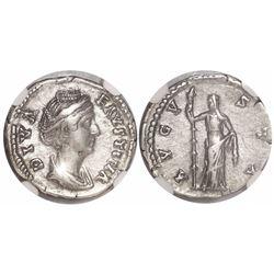 Roman Empire, AR denarius, Faustina Sr., posthumous issue, 138-140/1 AD, encapsulated NGC Ch XF.