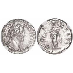 Roman Empire, AR denarius, Antoninus Pius, 138-161 AD, encapsulated NGC Ch XF.