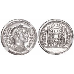 Roman Empire, AR argenteus, Diocletian, 284-305 AD, encapsulated NGC MS, strike 5/5, surface 5/5.