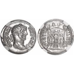 Roman Empire, AR argenteus, Constantius I, 305-306 AD, encapsulated NGC MS, strike 5/5, surface 5/5.
