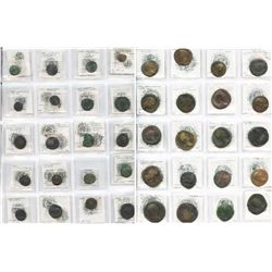 Large lot of 42 ancient bronze coins, the majority (40) from the Roman Empire (3rd-4th century AD) b