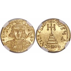 Byzantine Empire, AV solidus, Tiberius III, 698-705 AD, encapsulated NGC MS, strike 4/5, surface 4/5