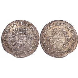 "Argentina (River Plate Provinces), La Rioja mint, 2 soles, 1825, with ""CaDeBas""."