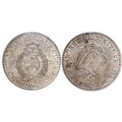 La Rioja, Argentina, 8 reales, 1838, coin axis, encapsulated PCGS AU55.