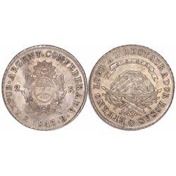 La Rioja, Argentina, 2 reales, 1843B, ex-Derman.