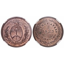 Buenos Aires, Argentina, copper 1 decimo, 1823, encapsulated NGC MS 63 RB.